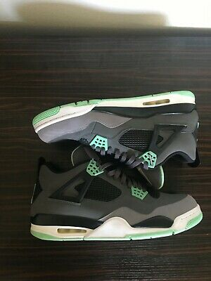 best value 23f1e 9af83 Nike Air Jordan IV 4 Retro Green Glow 308497-033 Size 13 Grey Black Mint