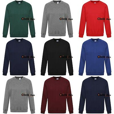 Kids Children Unisex School Uniform Plain Fleece Sweat Jumper Pullover