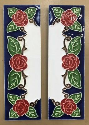 House numbers in Ceramic.2x6 In.Two End Tiles.Made/painted By Hand in ItalY