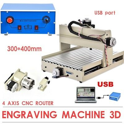 USB 4AXIS 3040 CNC Router Engraver Milling Drilling Machine 3D DIY Cutting Caver