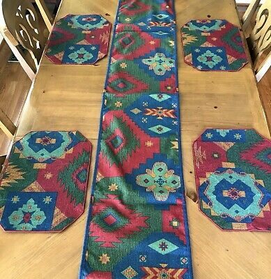 Longaberger Sunset Fabric Set of 4 Placemats & Table Runner ~ Reversible
