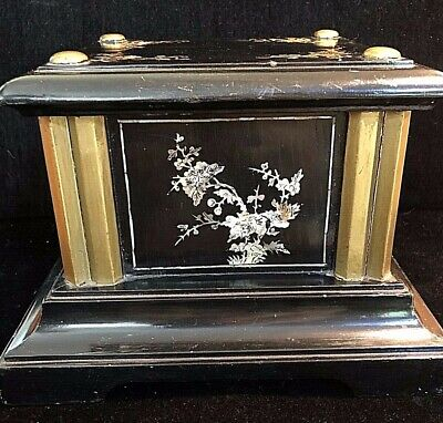 Rare Antique Chinese Stand Buddha Statue Black Lacquer Stand Mother Pearl Inlay