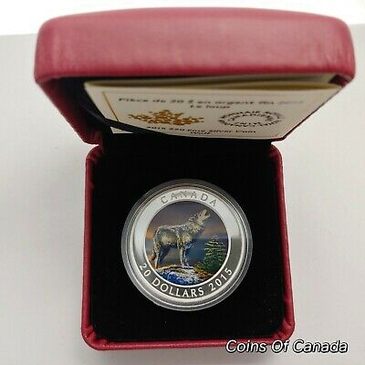2015 Canada Wolf - Coloured $20 Coin - 1 oz Fine Silver Box + COA #coinsofcanada