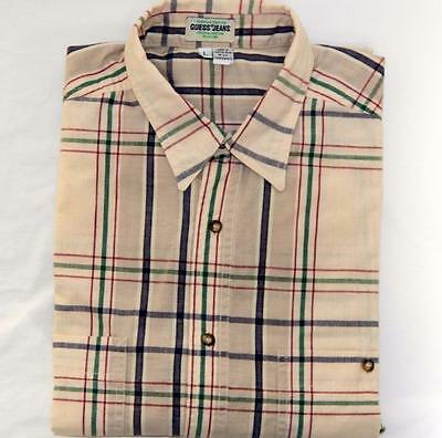 cca7a438e38d GUESS Jeans Men's Cream Red Green Plaid Long Sleeve Button Up Shirt Size  Large