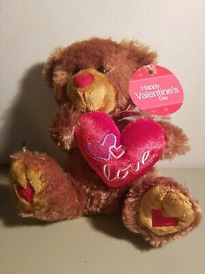 Plush  Heart Bear - Valentines Day Gift Holding Red Heart Pillow