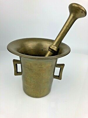 Antique Brass Mortar And Pestle Heavy Solid Apothecary