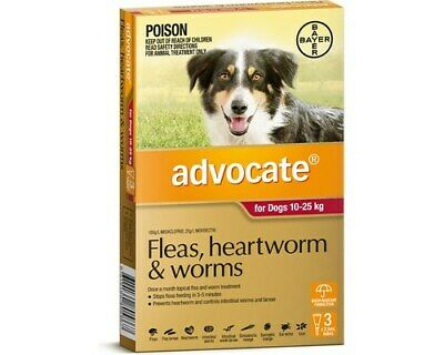 Advocate 3-Pk Worming, Ear Mites & Parasites Control For Dogs 10-25kg - Red