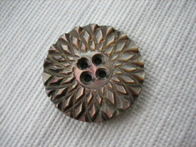 """Vintage Medium 1"""" Iridescent Smokey Mother Of Pearl MOP Shell Carved Button PD19"""