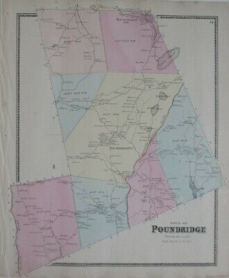 Original 1867 Map POUND RIDGE Boutonville Post Office Westchester County NY Mill