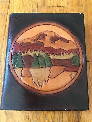 "Vintage Handmade tooled leather journal 5""x 6"" Mountain Scene"