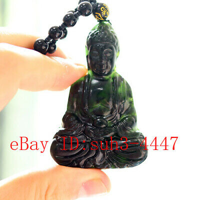 Black Green Jade Buddha Carved Pendant Beads Necklace