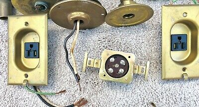 Vintage Pair Electrical Clock Outlet Receptacle Flush Mount, Plus Other. Brass