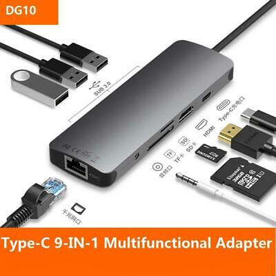9-in-1 Type-C to HDMI Converter Docking Station USB3.0 4K SD Reader PD Charging