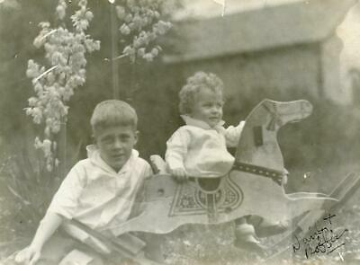 F414 Vtg Photo BEAUTIFUL CHILDREN WOODEN ROCKING HORSE, FLOWERS c Early 1900's