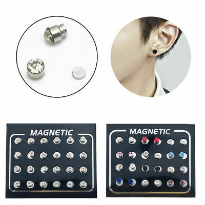 12 Pairs Crystal Rhinestone Magnetic Clip Non Piercing Earrings Women Jewelry
