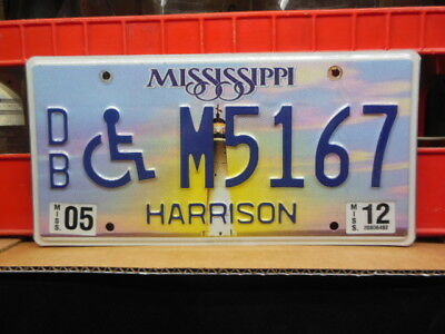 M 5167 = 2012 Harrison County Mississippi Lighthouse Wheelchair license plate