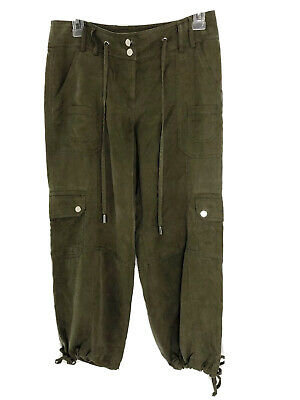 CACHE Olive Green Tencel Drawstring Cargo Cropped Ankle Pants Size 2 B1