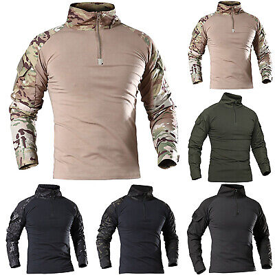 Mens Tactical Military Combat Long Sleeve Camouflage Zipper Shirts T-Shirts Tops