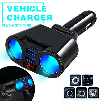 2 Way Cigarette Lighter Socket Splitter Adapter LED Dual USB Car Charger New