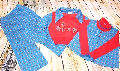 Vtg 70s Kid Children Polyester 3 Piece Shirt Bell Bottom Flare Pant Set Outfit 4