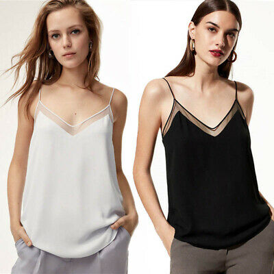 Women Lace Vest Sleeveless Loose Camisole Casual Strappy V-Neck Tank Tops Blouse