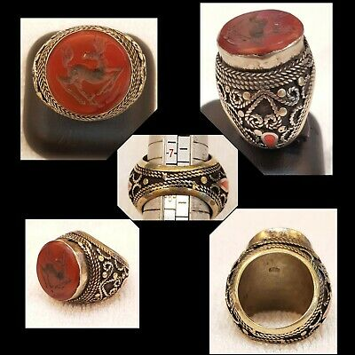 Origin Antique Islamic Design Beautiful Old Silver Ring with Agate Stone Deer