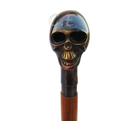 Skull Head Solid Hardwood Folding Walking Stick Cane Antique Style Royal Gift