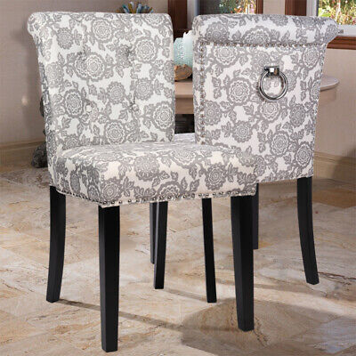 2x Dining Chairs Side Chair with Back Ring Upholstered Fabric Wooden Legs Linen