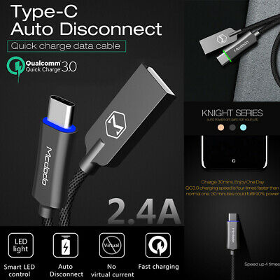 Mcdodo USB-C Type-C QC3.0 Smart LED Auto Disconnect Quick Charge Data Sync Cable