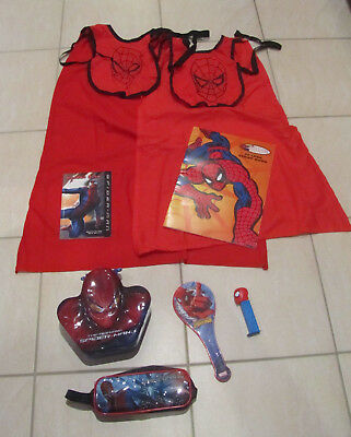 Lot 8 Spider-Man Toys/Collectibles Pencil Case Metal Tin Paddle Books Capes PEZ