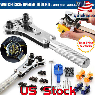 Watch Band Back Case Opener Fixer Repair Tool Kit Watchmaker Screw Cover Remover