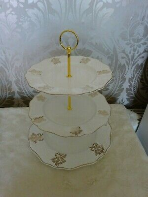 Vintage Retro Bone China 3 Tier Cake Stand White & Gold Bows Afternoon Tea