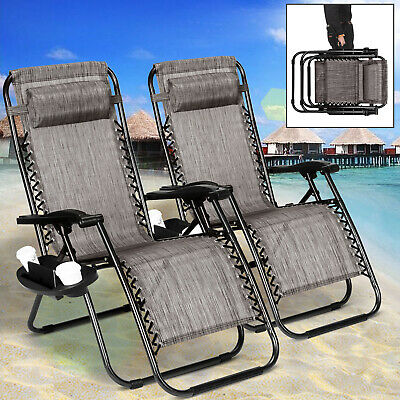 2 Zero Gravity Folding Lounge Beach Chairs+Utility Tray Outdoor Recliner Brown