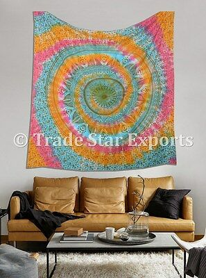Indian Tie Dyed Wall Hanging Large Mandala Wall Tapestry Boho Hippie Throw Decor