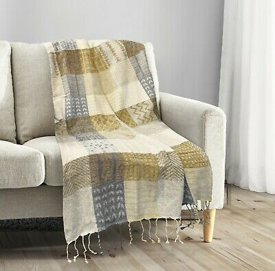 Luxury Sofa Throw Heavy Cotton Gold Patchwork Sofa Throw Over Settee Cover
