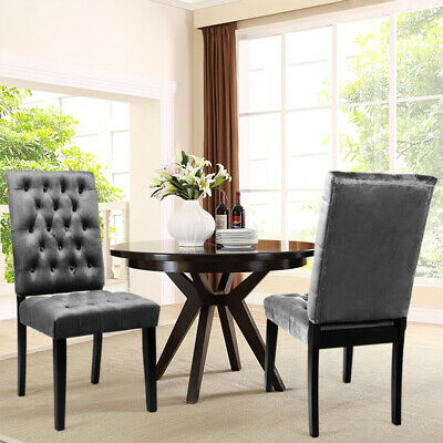 2 x Fabric Velvet Button Back Dining Chair in Grey Lounge Kitchen Banquet Chairs