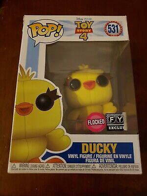 Funko Pop Ducky Flocked toy story 4 FYE exclusive *damaged*