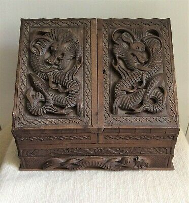 19th century carved wooden Chinese writing/stationary box.