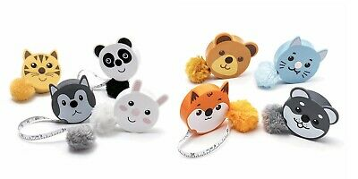 Cute Animal Retractable Tape Measures - with Fluffy Pom-Pom Tail + Lanyard Hole