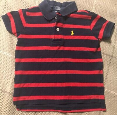 BOYS Size 18 Months POLO RALPH LAUREN Blue Red Polo Shirt
