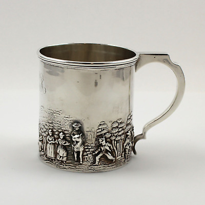 """Sterling Silver Christening Mug Youth Cup - 2 7/8"""" - w/ WHR Monogram"""