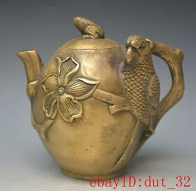 Antique Chinese Copper & Brass Marked Teapot, Repousse, Toad statue