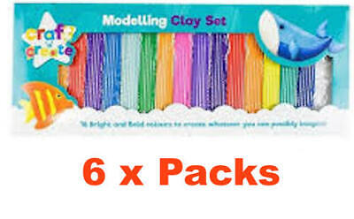Craft n Create Modelling Clay Set Non Toxic Age 3+  6 Packs of 16 Bright Colours