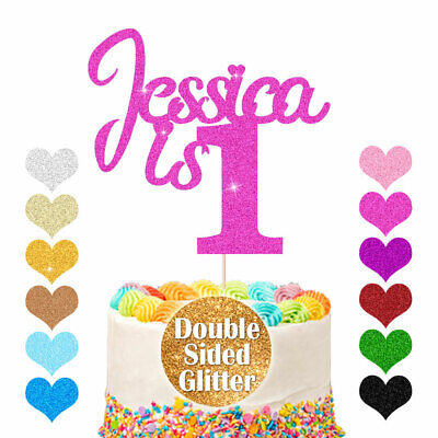 1st Birthday Cake Topper Any Age Name Glitter Personalised Cake Topper 1 2 3 18