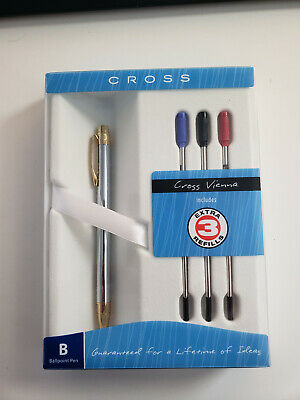 Cross Helios Medalist Chrome with Gold Ballpoint Pen with 3 Extra refills