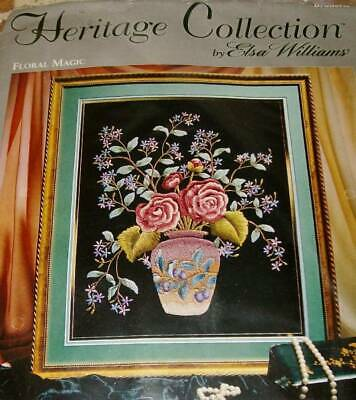 Rare Elsa Williams Heritage Collection Crewel Embroidery Kit FLORAL MAGIC 00914