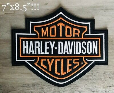 "Harley Davidson Patch Large Orange Logo Sew or Iron On 8.5x7"" Bar & Shield Biker"