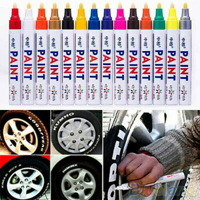 12 Colors Paint Pen Marker Permanent Tyres Cars Metal Glass Waterproof Universal