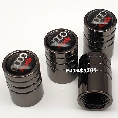 Audi 4x tyre wheels valve dust caps gift for him her tool key extension bundle