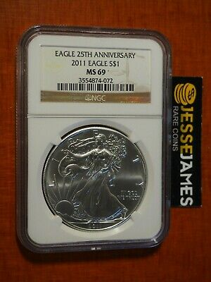 2011 $1 American Silver Eagle Ngc Ms69 Classic Brown Label
